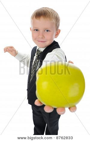 Boy Holds Out An Apple