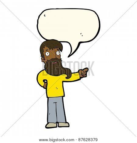 cartoon man with beard pointing with speech bubble