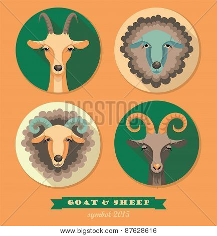 Vector Illustration Of Goat And Sheep.