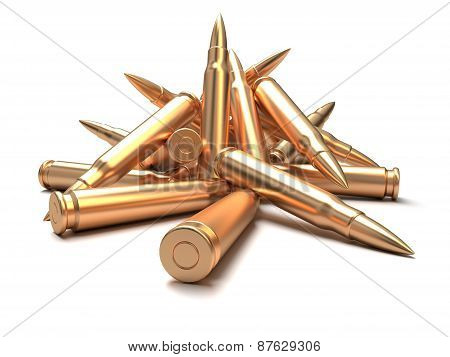 Rifle bullets over white background