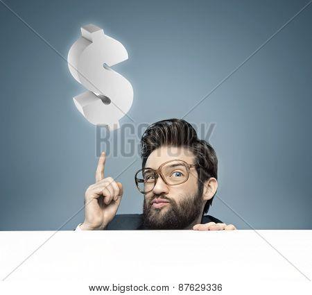 Concept portrait of a nerdy businessman
