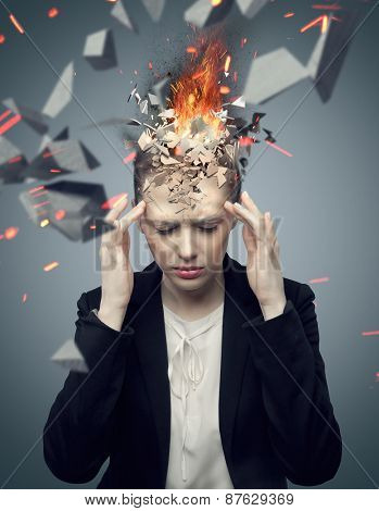 Young woman with exploding brain
