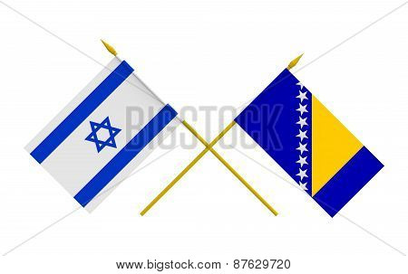 Flags, Bosnia And Herzegovina And Israel