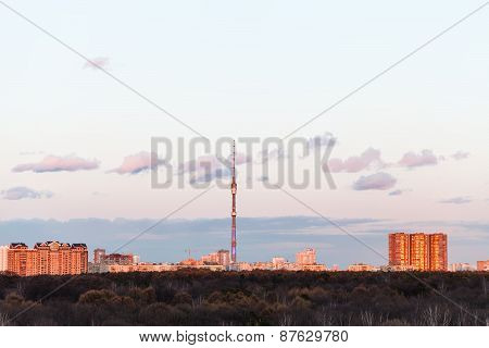 Tv Tower And Urban Houses In Spring Sunset
