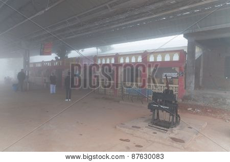 Orchha Railway Station In Thick Morning Fog