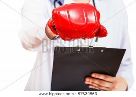Doctor Hand In Boxing Glove Isolated