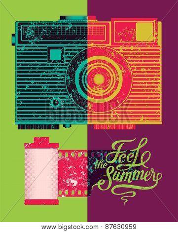 Feel the summer. Typographic retro grunge poster. Vector illustration.