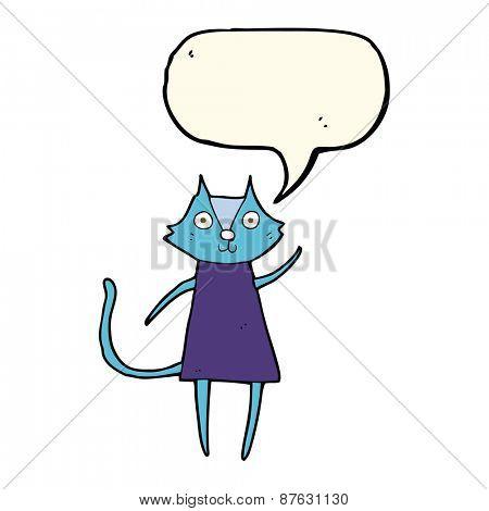 cute cartoon black cat waving with speech bubble