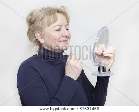 Senior With Hand Mirror