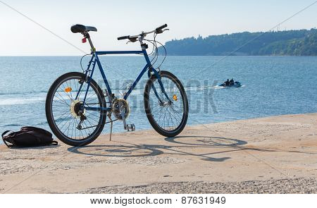 Bicycle Stands On The Pier, Black Sea Coast