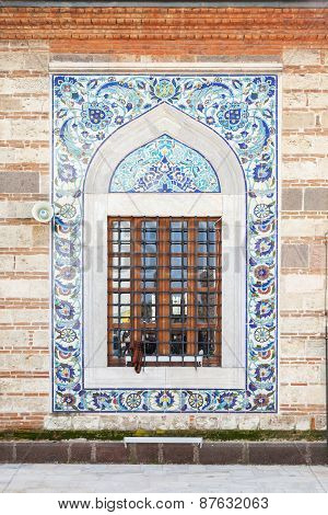 Decoration Of Old Mosque Window. Izmir, Turkey