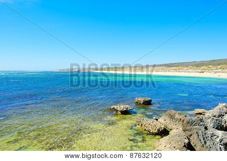 View on tropical beach and ocean in sunny day