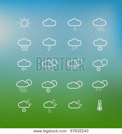 Set Of Weather Icons For The Interface