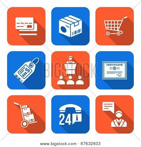 Various White Color Flat Style Business Distribution Marketing Process Icons Set.