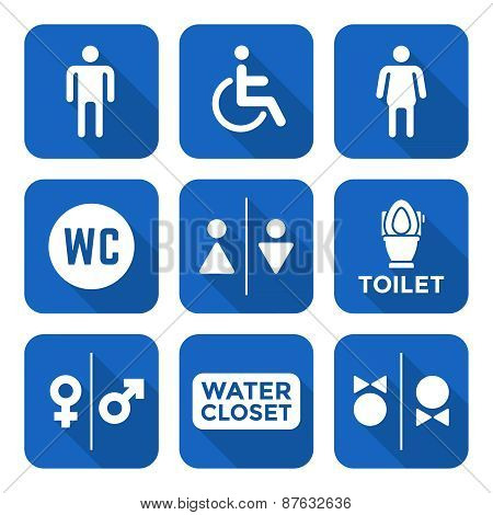 Various White Color Flat Style Water Closet Signs Toilet Restroom Icons Set.