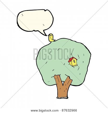 cartoon tree with birdhouse with speech bubble