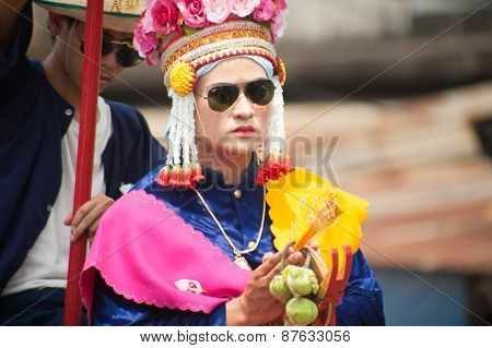 Buddhist Novice In Traditional Dress In Si Satchanalai Elephant Back Ordination Procession.