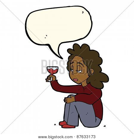 cartoon unhappy woman with glass of wine with speech bubble