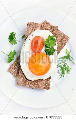 Fried Egg On Crispbread, Top View