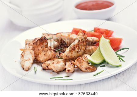 Cooked Chicken Sliced Meat With Vegetables