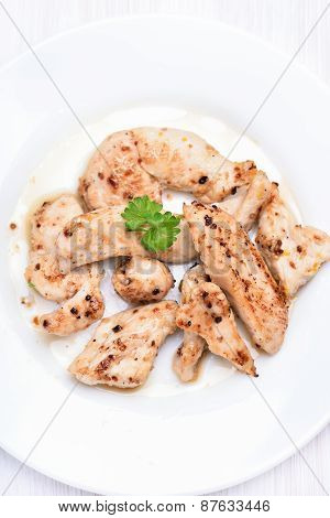 Chicken Grill Meat Sliced, Top View