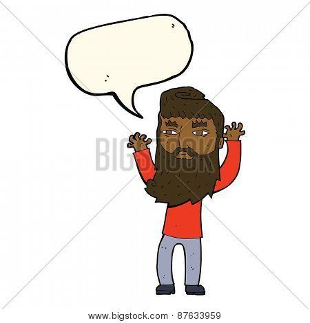 cartoon bearded man waving arms with speech bubble