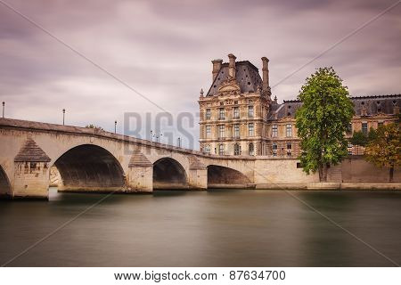 Pont du Carrousel in Paris from Seine river