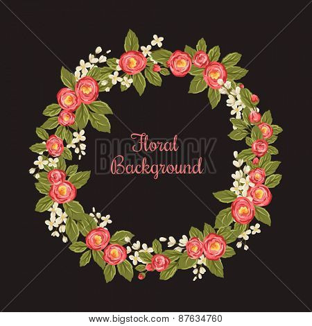 Floral background with round frame