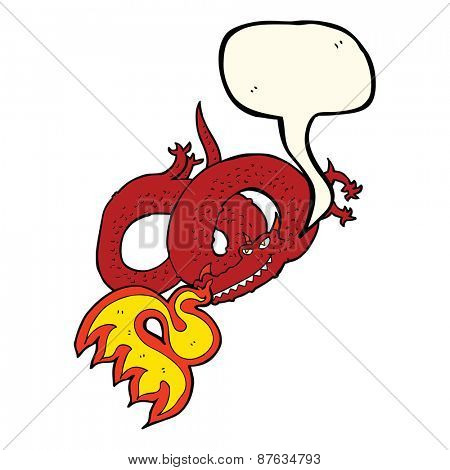 cartoon dragon breathing fire with speech bubble