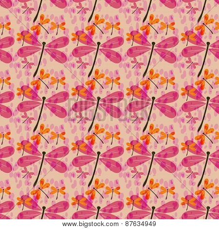Seamless Pattern With Dragonflies-1