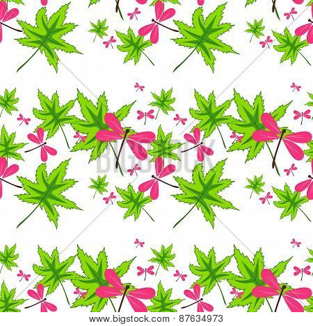 Seamless Pattern With Leaves And Dragonflies-1