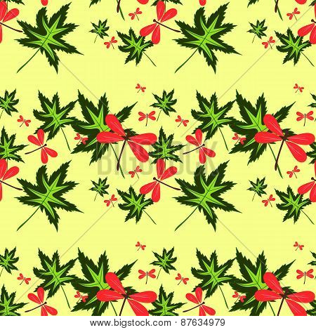 Seamless Pattern With Leaves And Dragonflies-2