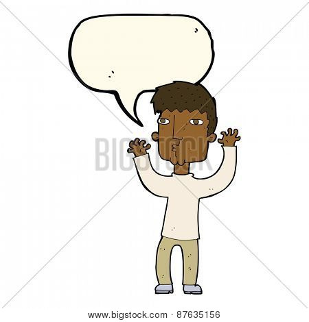 cartoon anxious man with speech bubble