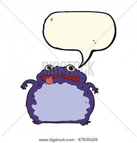 cartoon funny frog with speech bubble