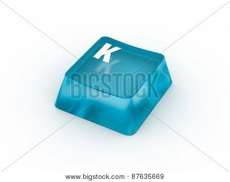 Letter K on transparent keyboard button