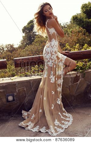 Sensual Woman With Blond Hair In Luxurious Lace Dress