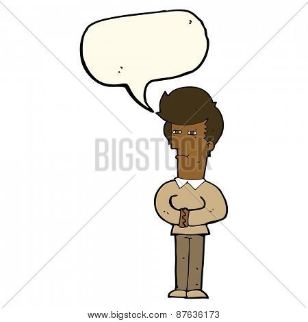 cartoon man narrowing his eyes with speech bubble
