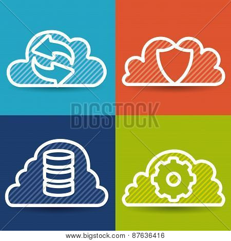 Cloud computing design, vector illustration.