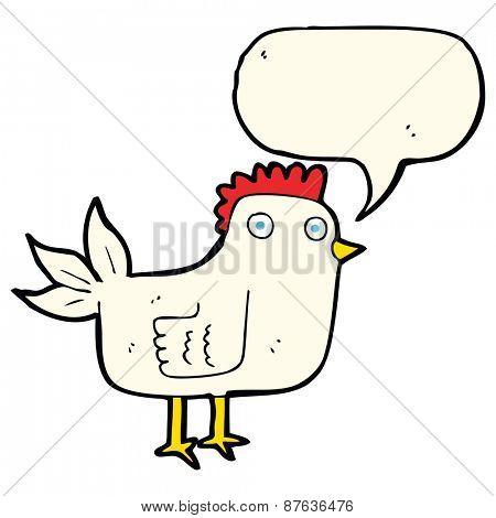 cartoon hen with speech bubble