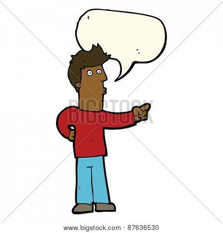 cartoon curious man pointing with speech bubble