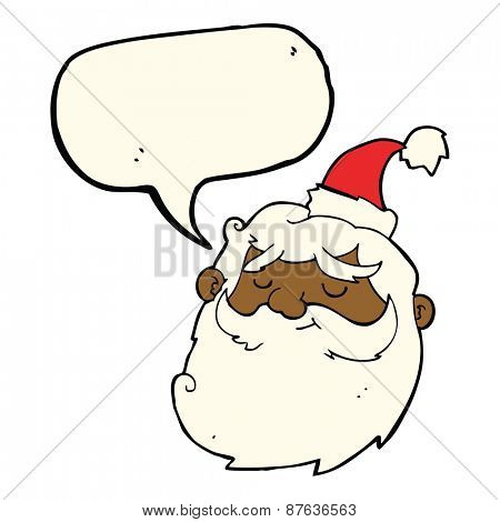 cartoon santa claus face with speech bubble