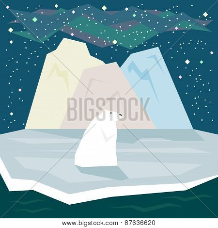 Simple Graphic Flat Style Polar Bear On Starry Sky Background