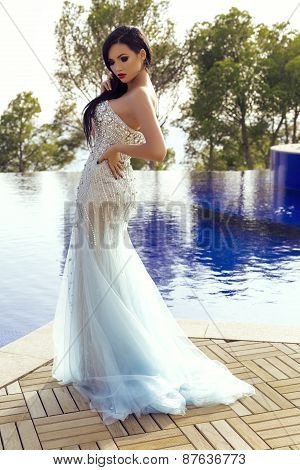Beautiful Sensual Woman With Dark Hair In Luxurious Sequin Dress