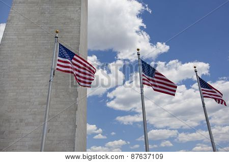 Washington Monument With American Flag