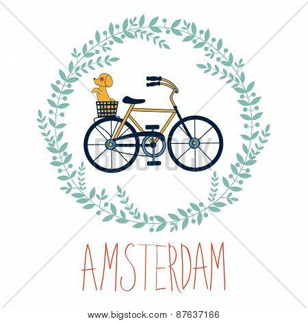 Cute Amsterdam card with dog in bycicle basket in floral wreath