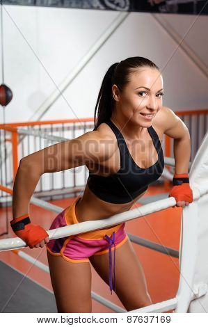 Sportswoman in a boxing ring