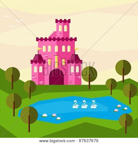 Bright Graphic Illustration With Cartoon Pink Colored Castle For Design