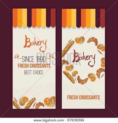 Vector watercolor hand drawn bakery set of banners with croissant, loaf, wheat, baguette, pretzel. E