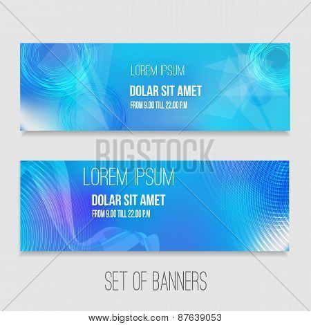 Vector set of abstract technology banners with modern background. EPS10