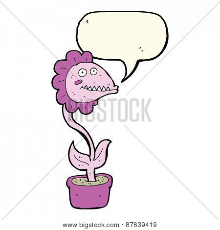 cartoon monster plant with speech bubble